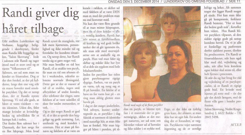 Artikel om Parykspecialisten i avisen